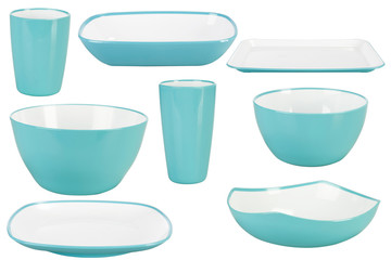 Blue plastic dishes on white background