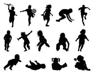 Black silhouettes of children playing-vector