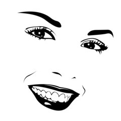 Beautiful female smile vector