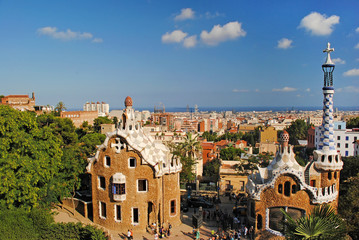 Modern buildings at the entrance to Park Guell in Barcelona, Spa