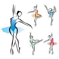 ballet dancer silhouette, set of vectors ymbols