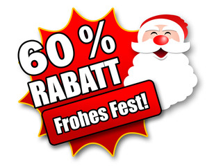 "Siegel ""60 Prozent Rabatt - Frohes Fest!"""