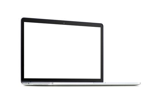 Front view of a rotated modern laptop with blank screen