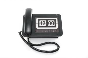 Mittag Telefon mit großer Uhr