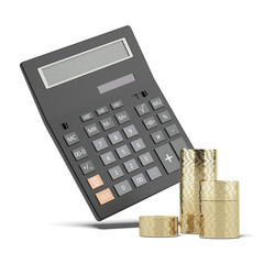 Stack of coins and calculator