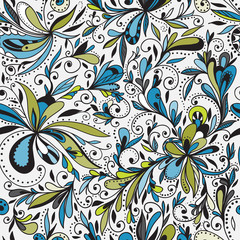 Wall Mural - Seamless doodle floral background