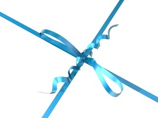 blue-colored ribbon and bow of a gift box