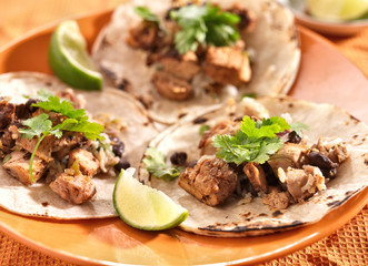 Canvas Print - authentic mexican tacos in soft corn tortilla
