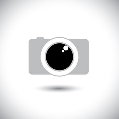 abstract digital camera icon with lens & shutter - front view