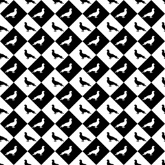 Design seamless monochrome checked pattern with a silhouette of