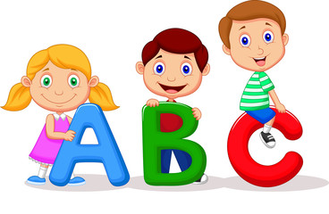 Children with ABC alphabet
