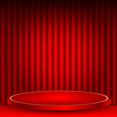 theatrical background.scene and red curtains.red podium on a bac