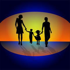 Fototapeta Rodzina na tle słońca, obraz