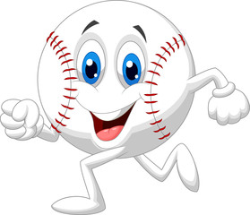 Cute baseball  ball cartoon running