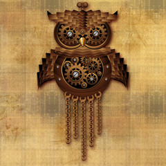 Wall Mural - Steampunk Owl Vintage Style-Gufo Giocattolo Antico