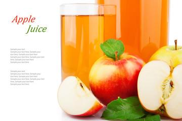 Apple juice in glass jar & text