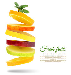 Photo sur Plexiglas Fruit Fresh slices of fruits