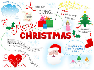 MERRY CHRISTMAS Sketch Notes (graphic happy card greetings)