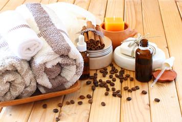 Spa and wellness setting with natural bath salt