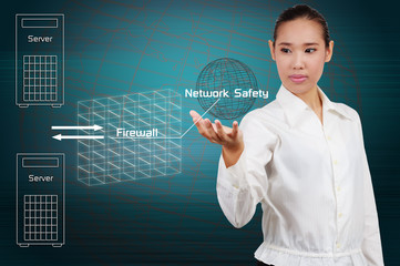 Wall Mural - Businesswoman show simple diagram concept of security on the Int