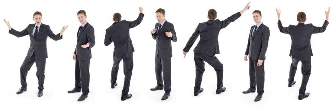 Set of isolated businessman different poses