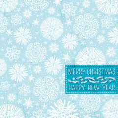 blue christmas background with snowflakes and label for text,  v