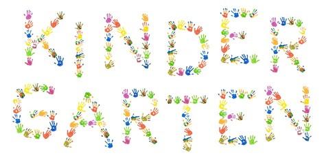 """Wort """"Kindergarten"""" aus bunten Kinderhänden (Foto-Collage)"""