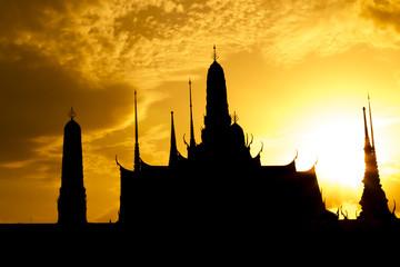 Silhouette  of the Emerald Buddha Temple. Wat Phra Kaew, Bangkok