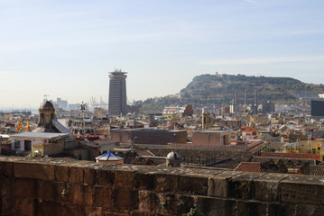 Rooftop view from Barcelona Cathedral. Spain