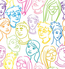 Seamless pattern with people faces - very big crowd. Color vecto