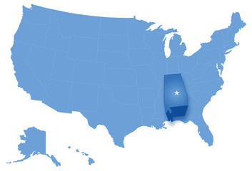 Map of United States with all states where Alabama is pulled out