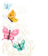 colorful butterflies with climbing plants