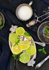 mint tea with lemon and lime
