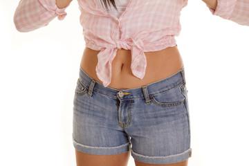 woman body pink plaid shirt shorts