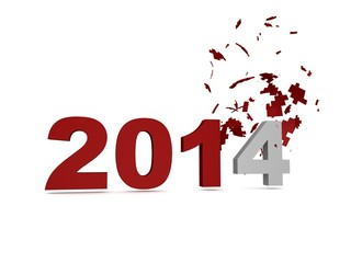 Obraz 2014 New Year Crashed Past -Red - fototapety do salonu