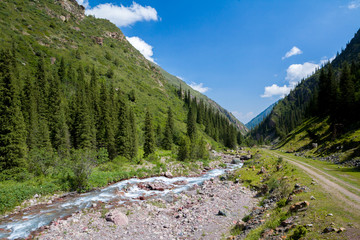 Fototapete - Mountain river and road in Kyrgyzstan