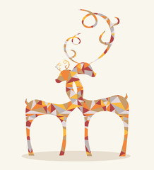 Canvas Prints Geometric animals merry christmas abstract deers