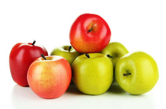 Tasty ripe apples isolated on white