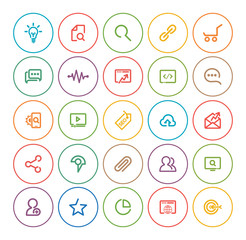 Outlines SEO Icon Set, colorful and square
