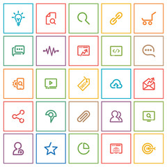Outlines SEO Icon Set, colorful square on white