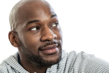 Handsome black man looking over shoulder