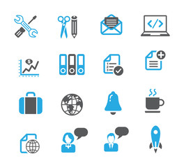Business and media icon set, dark gray - blue series