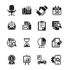 Office and media icon set, basic black series