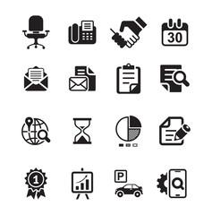 Office and media icon set, basic black series