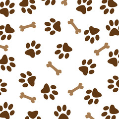 Brown Dog Paw Pattern