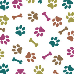 Multi-Colored Paw Pattern