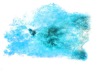 spot watercolor, blotch blue texture isolated on white backgroun