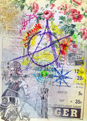 Collage and graffiti with tarot card