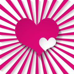greeting card with a pink heart