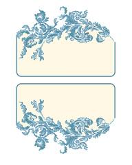 Business card, label, button, banner,  blue color